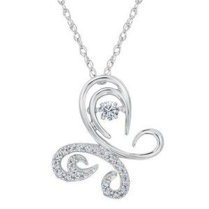 2 carats round diamond butterfly pendant sparkling